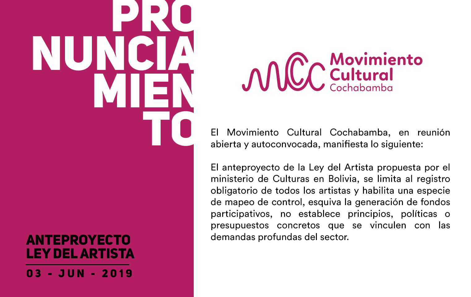 """Pronunciamiento MCC – Movimiento Cultural Cochabamba """"Ley del Artista"""""""